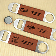 Personalized Brown Faux Leather Paddle Bottle Openers