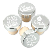 Nice Holiday Sayings Silver Aluminum Top Bottle Stoppers (Set of 4)