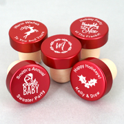 Holiday Personalized Red Aluminum Top Bottle Stopper