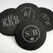 Personalized Monogram Round Slate Coasters