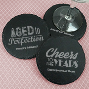 Personalized Adult Birthday Round Slate Coasters