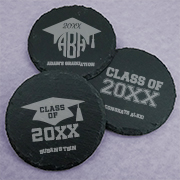 Personalized Graduation Round Slate Coasters