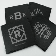 Personalized Monogram Square Slate Coasters