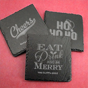 Holiday Personalized Square Slate Coasters