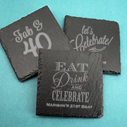 Personalized Adult Birthday Square Slate Coasters
