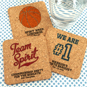 Personalized Square Cork Coasters - Sports Themed