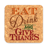 Eat Drink and Give Thanks Square Cork Coasters (Set of 4)