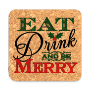 Eat Drink and Be Merry Square Cork Coasters (Set of 4)