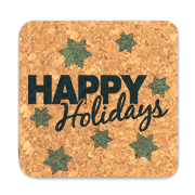 Happy Holidays Square Cork Coasters (Set of 4)