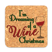 I'm Dreaming Of A Wine Christmas Square Cork Coasters (Set of 4)