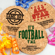 Personalized Round Cork Coasters - Sports Themed