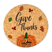 Give Thanks Round Cork Coasters (Set of 4)