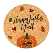 Happy Fall Y'all Round Cork Coasters (Set of 4)