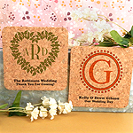 Monogram Square Cork Coaster Magnets