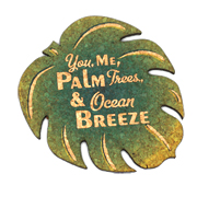 You Me, Palm Trees Ocean Breeze Palm Leaf Cork Coaster Wedding Favors (Set of 4)