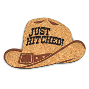 Just Hitched Cowboy Hat Cork Coaster Wedding Favors (Set of 4)