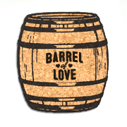 Barrel of Love Oak Barrel Cork Coaster Wedding Favors (Set of 4)