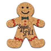 Sugar and Spice Gingerbread Man Cork Coasters (Set of 4)