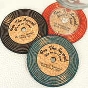 Personalized Vinyl Record Cork Coaster