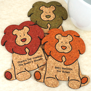 Personalized Baby Lion Cork Coaster