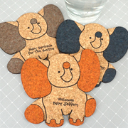 Personalized Baby Elephant Cork Coaster
