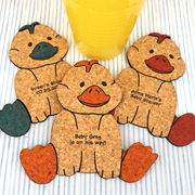 Personalized Baby Duck Cork Coaster