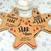 Personalized Baby Star Cork Coaster