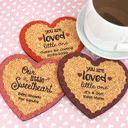 Personalized Baby Heart Cork Coaster
