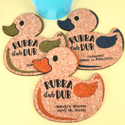 Personalized Baby Rubber Ducky Cork Coaster