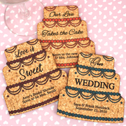 Personalized Wedding Cake Cork Coaster