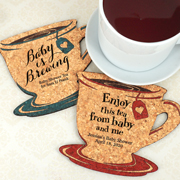 Personalized Baby Shower Tea Cup Cork Coaster