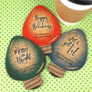 Personalized Holiday Light Bulb Cork Coaster