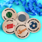 Personalized Wooden Magnets - Sports Themed