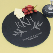 Personalized Monogram Round Slate Serving Tray, Cheese Board, Trivet