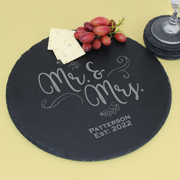 Personalized Round Slate Serving Tray, Cheese Board, Trivet