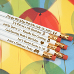 Personalized Kids Birthday Engraved Pencils - White (Set of 12)
