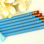 Engraved Personalized Baby Shower Pencils - Blue (Set of 12)