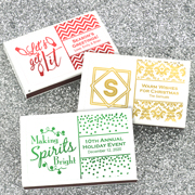 Holiday Metallic Foil Personalized Matches - Set of 50 (White Box)