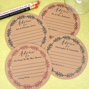 Personalized Rustic Vintage Wreath Kraft Advice Coasters