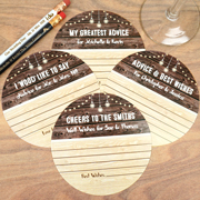 Personalized Woodgrain Advice Coasters