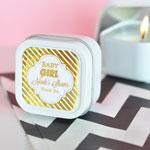 Personalized Metallic Foil Square Candle Tins - Baby Shower