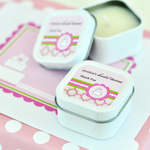 Personalized Square Candle Tins - Pink Cake