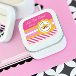 Pink Circus Party Personalized Square Candle Tins
