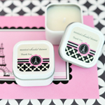 Personalized Square Candle Tins - Parisian Party