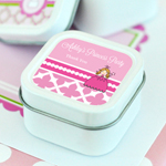 Princess Party Personalized Square Candle Tins