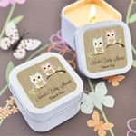 Woodland Owl Personalized Square Candle Tins