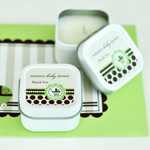 Personalized Square Candle Tins - Green Baby