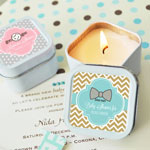 Personalized Square Baby Shower Candle Tins