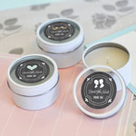 Chalkboard Wedding Personalized Round Candle Tins