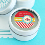 Circus Carnival Party Personalized Round Candle Tins